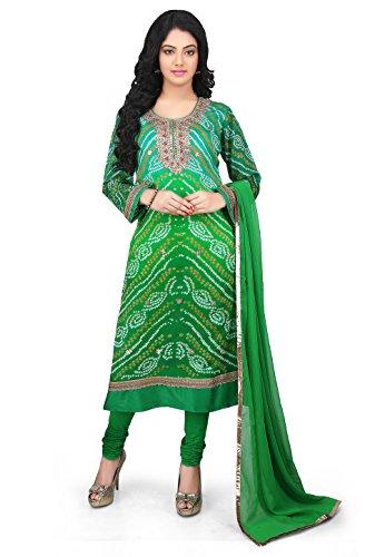 Utsav Fashion Bandhej Pure Crepe Chinon Straight Cut Suit in Green
