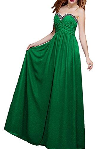 Steine La Festlichkleider Abendkleider mia Herzausschnitt Grau Brautmutterkleider Braut Chiffon Ballkleider Grün zXxw14zr