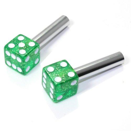 smallautoparts-clear-green-glitter-dice-interior-door-lock-knobs-set-of-2