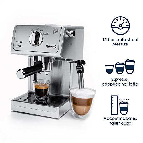 """De'Longhi Bar Pump Espresso and Cappuccino Machine, 15"""", Stainless Steel"""