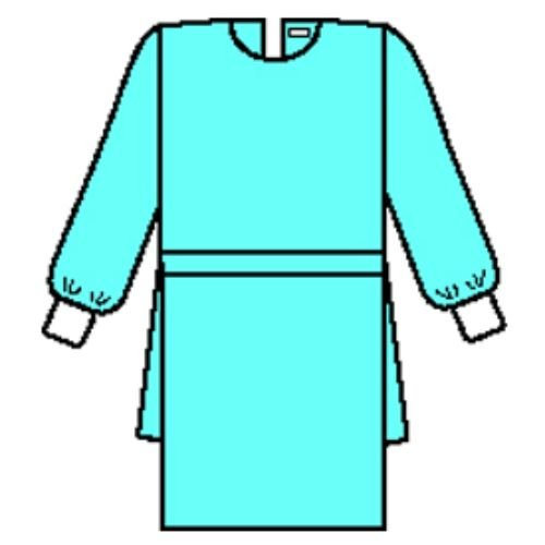 Halyard Health 69028 Procedure Gown with Knit Cuffs, 3-Layer SMS Fabric, X-Large, Blue (6 Poly Bags of 10, 60 Total)