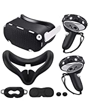 for Oculus Quest 2 Accessories, Quest 2 VR Silicone face Cover, VR Shell Cover,Quest 2 Touch Controller Grip Cover,Protective Lens Cover,Disposable Eye Cover (Black)
