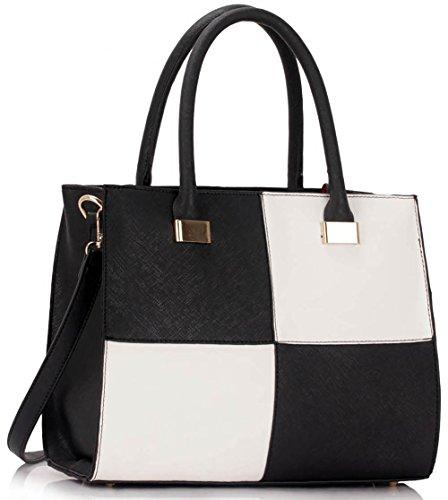 Ladies Designer Handbags Womens Large Fashion Bags Faux Leather Medium Large Extra Large Design 1 : Medium - Black/White