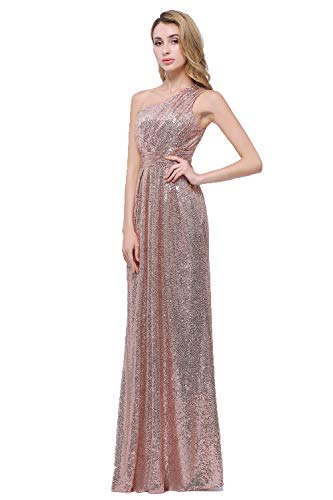Honey Qiao One Shoulder Bridesmaid Dresses Sequins Long Pleats Belt Prom Party Gowns Rose Gold