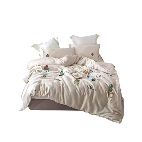 Crystal 1960s - Tcaijing Bedding Set 4 Piece Set 60S Blue Crystal Tencel Three-Dimensional Towel Embroidery Embroidery 2 Pillowcase 1 Quilt Cover 1 Piece of Sheets 3 Feet Optional Home Bedroom Birthday Gift
