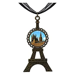 Chicforest Bronze Retro Style London the British houses of parliament and big ben Eiffel Pendant