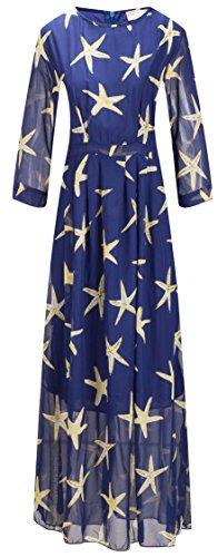 Modèles Bewish Des Femmes, Plus Mousseline De Soie Taille Étoile De Mer Moitié Manches Longues Robe Maxi