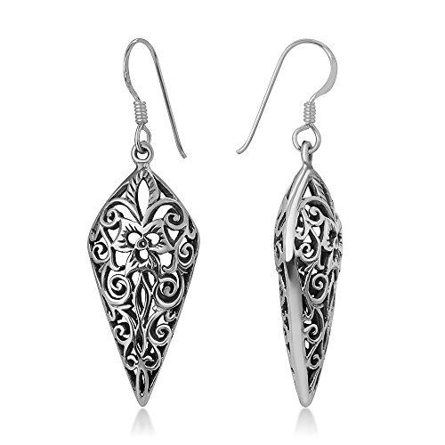 925 Oxidized Sterling Silver Bali Inspired Filigree Puffed Spear Shaped Dangle Hook Earrings 1.7
