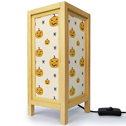 Thai Oriental Asian Handmade Natural Wood Minimalistic Desklamp Table Bedside Night Light - Halloween Pumpkin