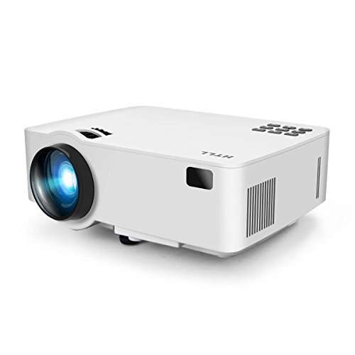 Video Projector, HTLL Home Cinema Mini Projector, 1500Lumens, HD Projector Support 1080P, HDMI, VGA, USB, AV,SD Input for Home Entertainment, TV, Laptop, Gaming, Smartphone etc (4.0-Inch) (White)