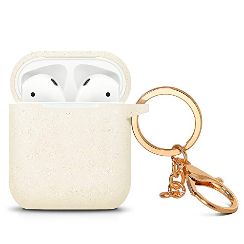 ZALU Compatible for AirPods case with Keychain, Glittery Cute Airpods Silicone Case Cover for Airpods 2 & 1 [Front LED Not Visible] [Wireless Rechargeable](Gold)