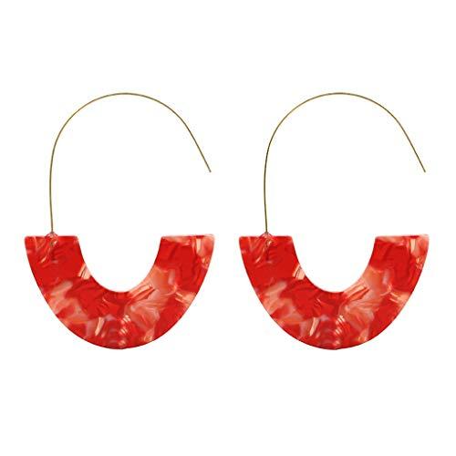 Psunrise Pendientes Creative Metal Geometric Irregular Pattern Cross Round-Cut Earrings Ladies Jewelry(6.5×4.9cm, Red)