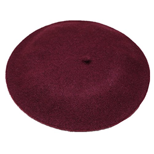 Joyhy Women's Solid Color Classic French Style Beret Beanie Hat Wine Red