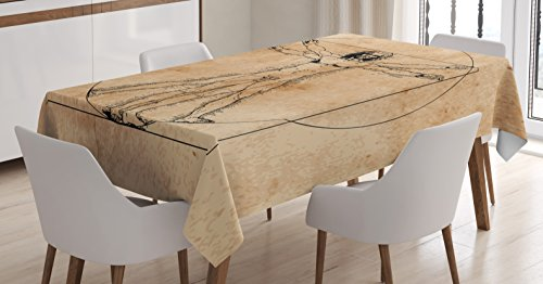 Ambesonne Human Anatomy Tablecloth, Medieval Vitruvian Man Crosshatching Famous Italian Painting Renaissance Body Art, Dining Room Kitchen Rectangular Table Cover, 52 W X 70 L Inches, Sepia