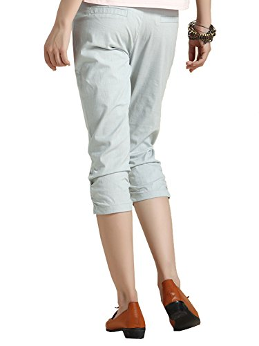 Pantalones Delgado Para Gris Ligeros Rectos Ajuste Mujer Chinos Capri fr64Uf
