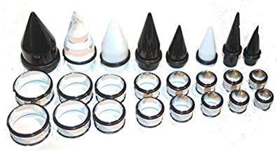 Amazon 00g 1 Inch Ear Stretching Kit Black Tapers Steel Tunnels 7 16 2 9 5 8 3 4 Jewelry