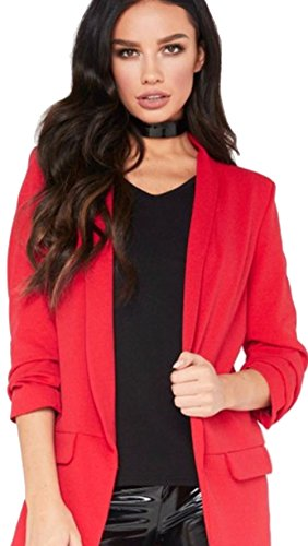 Sleeve Blazer 3 Open Ladies Line Front Plain Long Duster janisramone 4 Womens Frill Coat Jacket Red New Ruffle w6S50cgq