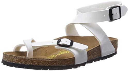 Birkenstock YARA Ladies Toe Strap Flat Sandals Patent White YARA 36 ()