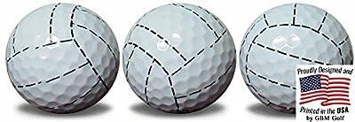 Volleyball Golf Balls 3 Pack Full wrap novelty