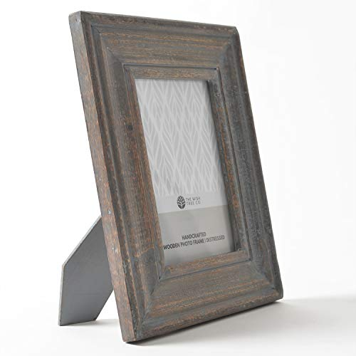 The Wish Tree Co.. (Brown, 5x7 Distressed Finish Natural Wood Rustic Photo Frame with Easel, Non Rust Clips, Table Top, Glass Front, for Bedroom, Desk, Living Room