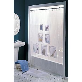 Amazon Com Vinyl Shower Curtain With 7 Mesh Pockets Home