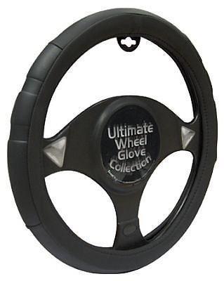 Saab 9-3 Black & Grey Sports Grip Steering Wheel Cover Glove 37cm: