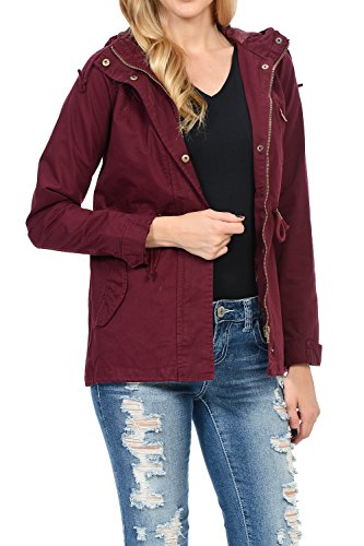 Auliné Collection Women's Versatile Military Safari Utility Anorak Street Fashion Hoodie Jacket Burgundy Large ()