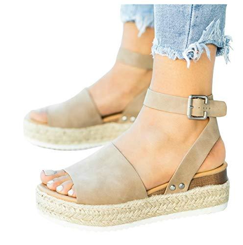 LAICIGO Women's Flatform Espadrilles Ankle Strap Buckle Open Toe Faux Leather Studded Wedge Summer Sandals