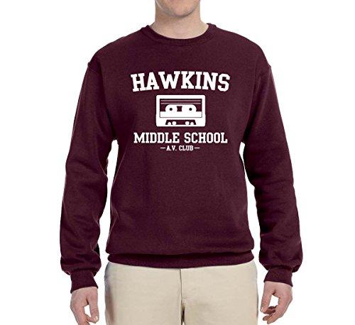 School Graphic (Wild Bobby Hawkins Middle School AV Club   Mens Pop Culture Crewneck Graphic Sweatshirt, Maroon, Small)