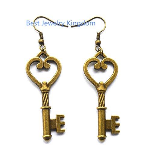 Love Heart Key Earrings, Key Charm Earrings, Key Earrings,Bronze Key Charm, Key Jewelry, Heart Jewelry, Everyday Jewelry, Dangle (Bff Halloween Costume Ideas)