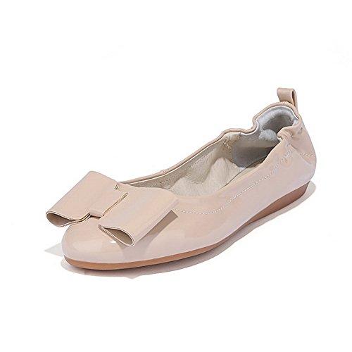 AllhqFashion Mujer Charol Pu Tacón Bajo Puntera Cerrada Puntera Redonda Lazo ZapatosDeTacón Albaricoque