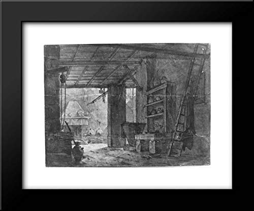 (Anonymous Artist, German 19th Century - Anonymous Artist, German 18th Century - 24x20 Framed Museum Art Print- Interior of Farm House )