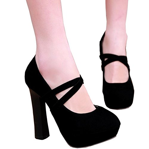 ba4b81eb0b1 YC WELL Women High Heel Shoes Thick Heel Closed Round Toe Platform Ankle  Straps High Heel Pumps Fashion Shoes delicate