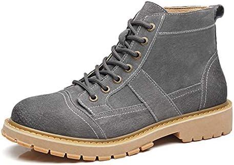 男性作業ブーツレース用足首砂漠のブーツはアップ本革低ヒールラウンドトウアンチスキッドバーニッシュスタイルのパッチワーク耐摩耗します YueB HAM (Color : Grey, サイズ : 25 CM)