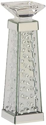 Deco 79 87374 Glass Mirror Crystal Candle Holder