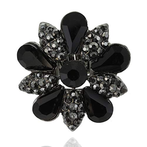 (SP Sophia Collection Fashion Flower Ring Embellished with Rhinestones and Austrian Crystals in Black )