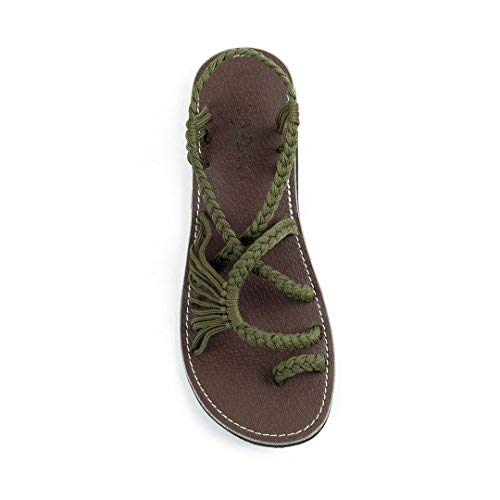 - Plaka Flat Summer Sandals for Women Olive Size 5 Palm Leaf