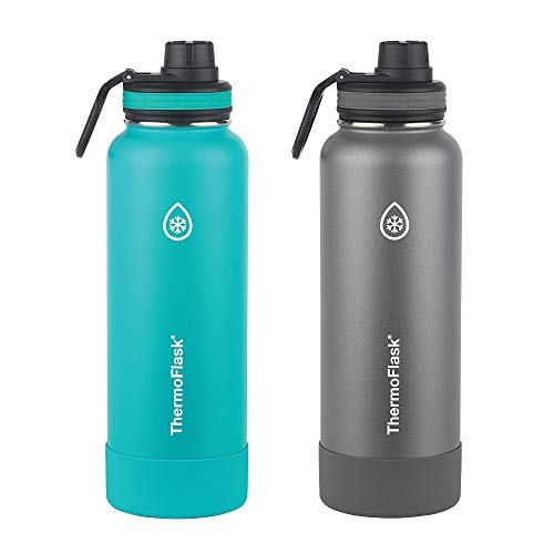 Thermoflask Water Bottle with Spout Lid and Bumper (Teal/Graphite), 2 Count