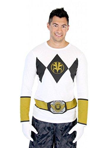 Costume Ranger Mighty White Morphin (Power Rangers White Ranger Long Sleeve T-Shirt & Gloves (Adult)