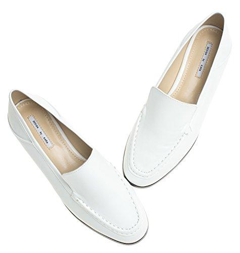 Annakastle Donna Morbida Vegana In Pelle Pieghevole Sul Tallone Mocassino Flat Comfort Slip On White