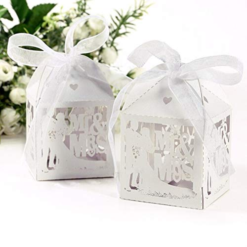 Box Box - Event Party 10pcs White Candy Paper Box Mr Mrs Married Wedding Favor Gift Boxes - Pedestal Original Shoe Gloves Supplies Glossy Storage Glassy Boxers File Party Jumps Boxing Spring