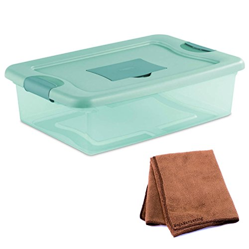 NEW! Sterilite 6-Piece 32-Quart Fresh Scent Storage Box Organizer with Lid and Latch in Aqua Tint with Cleaning Cloth