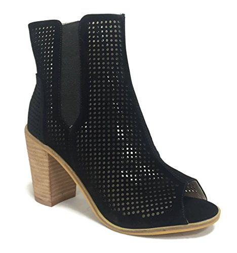 Ella Steven Peep Black Ankle Heel Bootie Angelina Wooden Toe Stacked Leather Faux dTTwWqOCn