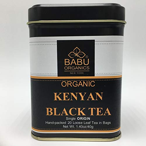 Organic KENYAN BLACK TEA by Babu Organics - BLACK LOOSE TEA in Special 20 HAND-CRAFTED Tea Bags (20 Cups), Hand-Picked and Hand-Packed from a Single Estate in Kenya, Refreshing tea either Hot or Cold ()