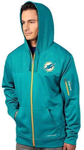 (VF Miami Dolphins Majestic Action Men's F/Z Therma Base Hooded Sweatshirt)
