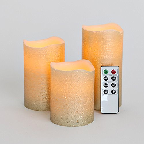 Set of 3 Distressed Gold Wax Flameless Battery Candles with Timer and Remote- Batteries Included
