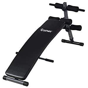 COSTWAY Adjustable Arc Shaped Decline Sit up Bench Crunch Board Exercise Fitness Workout