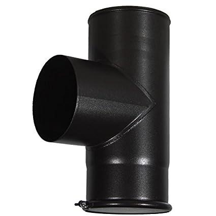 Tubo de chimenea para madera, 90 grados, en forma de T, 12,