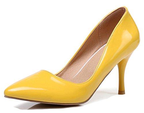 Aisun Donna Semplice Brunito Dressy Taglio Basso Punta A Punta Stiletto Tacco Alto Da Indossare A Lavoro Slip On Pumps Shoes Giallo