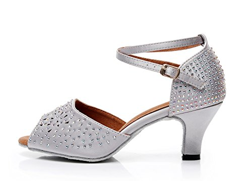 Latin Dancing Toe UK Satin 5 Shoes Wedding MINITOO Grey Ballroom Studded Peep Sandals Ladies q78YpB